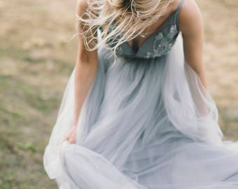 Tulle wedding gown / Blue and gray wedding gown