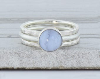 Minimalist Ring for Women - Gemstone Ring - Bohemian Ring Sterling Silver Stacking Rings - Gift For Her - Blue Lace Agate Ring Hammered Ring