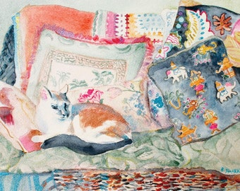 9x12 CAT ON PILLOWS Print of my Original Watercolor, Cat on Loveseat, Calico Cat, Gift for Her, Multicolors