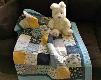 Dinosaur Quilt, Handmade Baby Quilt, Dino Quilt, Baby Boy Quilt, Patchwork Baby Quilt, Baby Blanket, Baby Shower Gift