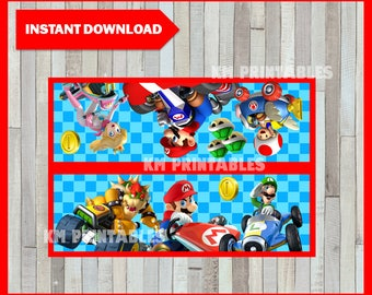 Printable Mario Kart Bag toppers instant download, Mario Bros party Bags, Printable Mario Kart Treat bags toppers
