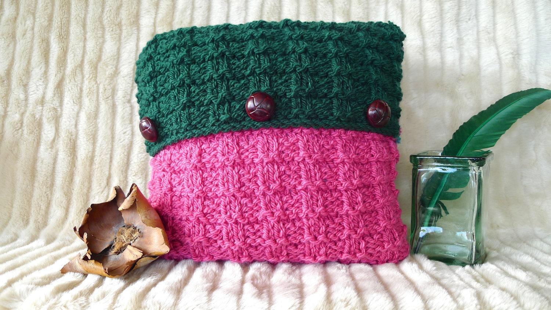 Coj n verde hecho a mano cojines tejidos a dos agujas - Cojines de lana ...