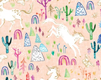 Unicorns Baby Fabric by the Yard Peach Fabric Baby Girl Nursery Fabric Organic Cotton Fabric Childrens Fabric Kids Fabric 7183634