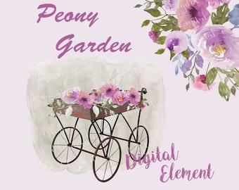 Peony Floral Clip-art, Watercolor Lilac Clip-art, Lilac Peony Clip-art, Peony Watercolor Clip-art. No. WC46