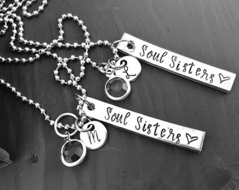 Soul Sisters Necklace I Best Friend Jewelry I BFF Necklace I  birthstone jewelry I Soul Sisters Gift I My Best Friend Gift I My Soul Sister