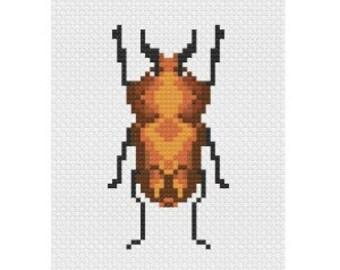 Cross Stitch Beetle, Digital Download, Instant Cross Stitch Pattern, PDF Pattern, Digital Download, Easy Cross Stitch