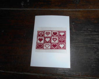 Embroidered on canvas handmade card - hearts