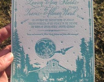 Moonlit Barn Rustic Letterpress Wedding Invitations