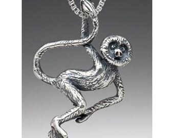Monkey Necklace Monkey Jewelry Monkey Charm Spider Monkey Rainforest Jewelry Silver Monkey Animal Charm Animal Jewelry Animal Necklace