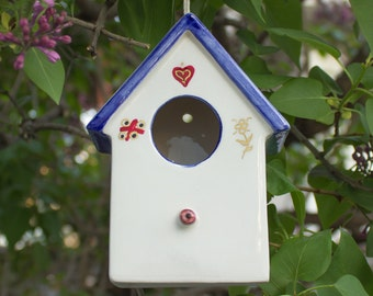 Hanging White blue Ceramic Bird House, Pottery Bird House, gold lines, Spring Celebrations Garden Art, Home and Garden, Birds READY TO SHIP