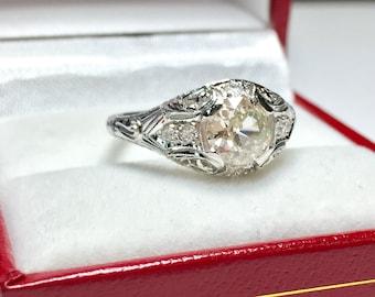 VINTAGE 0.90CT Round Engagement Ring l Platinum Diamond Ring l Engagament Ring l Solitaire Ring