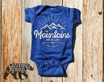 The Mountains Are Calling and I Must Go ~ Baby Onesie ~ Infant Camping Shirt ~ John Muir ~ Vintage Colors