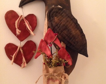 Primitive Crow Cupid Door Hanger