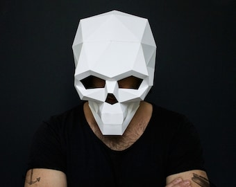 Skull Mask For Halloween DIY Printable Instant Pdf Templates 3D Pattern