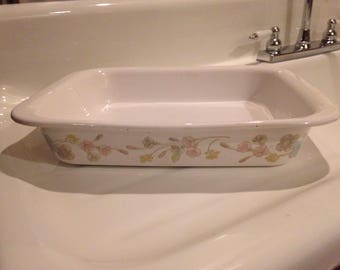 Large casserole dish with vintage floral pattern