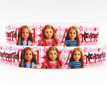 "Girl Doll Grosgrain 7/8"" Printed Ribbon"