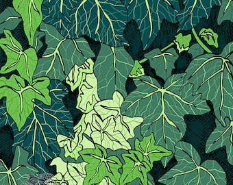 Ivy, green leaves, green wall art, summer leaves, small art print, gift for new home, botanical drawing, shades of green, garden picture