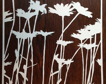 Flowers 10: Daisies -- Hand-Cut Paper Silhouette of Daisies
