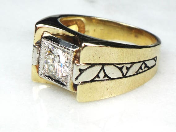 Vintage Mens Diamond Ring Gents Ring 14k Two Tone Gold Ring