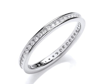 925 Sterling Silver 2mm Full Channel Set Cz Eternity Ring
