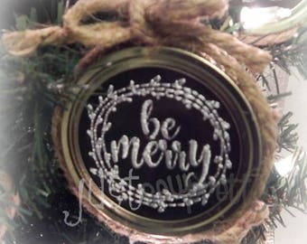Mason Jar Lid Ornament Merry Design