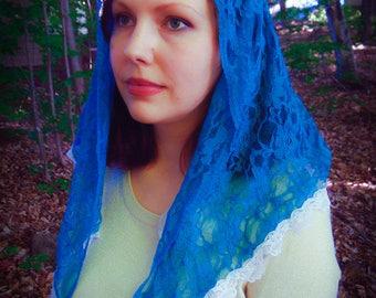 Blue Mantilla Veil, Blue Lace Mantilla, Chapel Veil, Church Veil, Catholic Veil, Latin Mass Veil, Catholic Church Mantilla