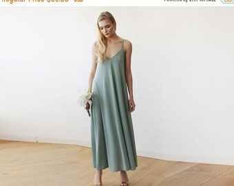 Sage Green maxi dress with thin straps, Slip green dress 1026