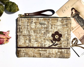 Rusty Beige Clutch Zipper Closure Evening Bag