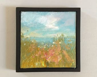 Beach Painting  -5 x 5 Framed - Wildflowers by the Beach- Original painting- canvas panel- Standard Black Frame