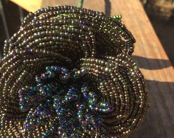 Iridescent Gold, Blue, and PurpleFrench Beaded Flower