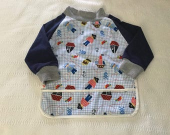 Bib with sleeves pattern covers all waterproof pirate
