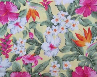Hawaiian Quilting Fabric Pastel Yellow with Plumeria Hibiscus  and Bird of Paradise from Marianne of Maui