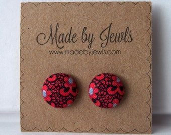 Crimson Red Black and Lace Floral Handmade Fabric Covered Hypoallergenic Button Post Stud Earrings 10mm