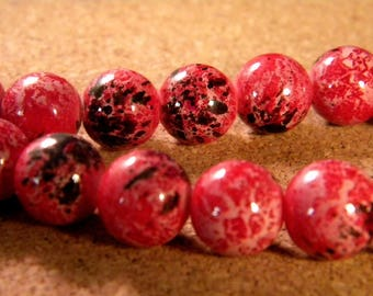"""10 pearls glass 12 mm-red - PE173 """"reality"""""""