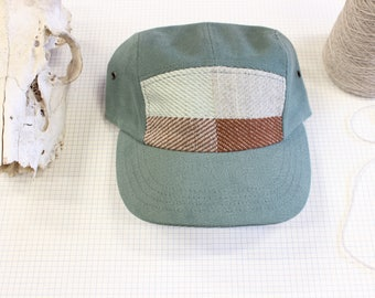 Hand woven camp hat, 5 panel