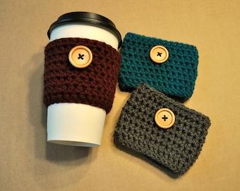 Coffee Sleeve, Cup Cozy, Reusable Coffee Cozy, Button, Crochet Coffee Sleeve, Crocheted Cozy, Coffee Cozy, Reusable Sleeve, Drink Sleeve
