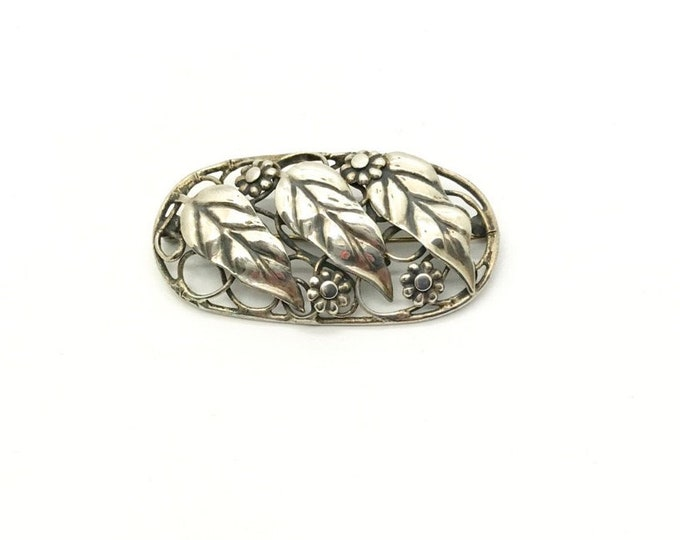 Sterling Craft by Coro Pin, Vintage Sterling Silver Pin, Coro Jewelry, Vintage Pin, Vintage Sterling Silver Pin, Pin with Leaves and Flowers