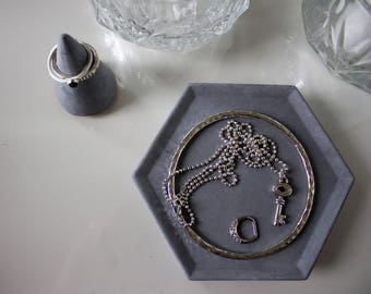 Hexagonal concrete ring dish / concrete catchall / ring holder / trinket dish  / jewellery display
