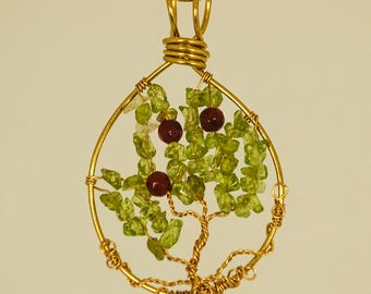 Peridot and Ruby Tree of Life Pendant