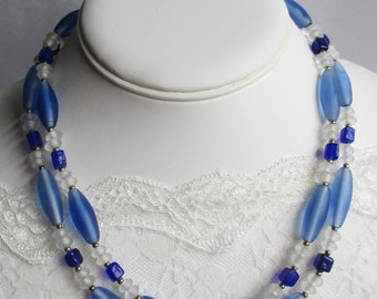 Blue-And-Clear Glass Necklace With Matching Earrings--- A Springtime Treasure