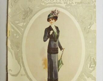 Superb Original Vintage (1911) FRENCH FASHION MAGAZINE Cover - (lot055)