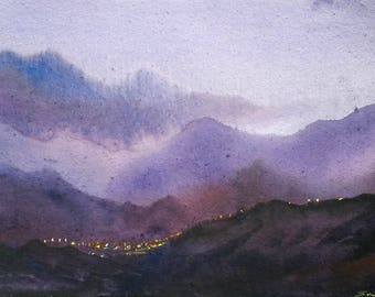 Night Himalaya Village -Original watercolor paper painting,Original,watercolor,Painting,Paper