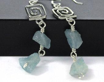 Rough Aquamarine Earrings Sterling Silver - Irregular Shape Earrings - Raw Aquamarine Stones - March Birthstone