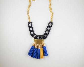 Blue and yellow necklace, Long necklace, Tassels necklace, Yellow blue necklace, Unique jewelry, Unique necklace, Gift for her, Tassels