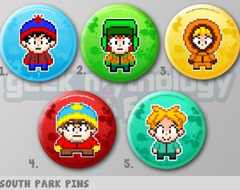 "South Park 1.5"" Pixel Art Pin Buttons or Magnets"