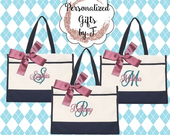 Monogrammed Tote Bag (Set of 10)- Bridesmaid Gift- Personalized Bridemaid Tote - Wedding Party Gift - Name Tote-