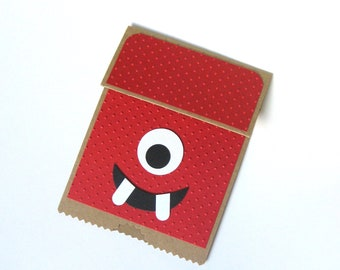 Silly Monster Card, Cute Monster, Muno, Yo Gabba Gabba, Paper Bag Puppet Card, Child Birthday, Monster Card, Child for Card, Puppet Card