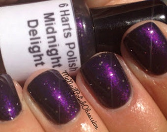 Midnight Delight blackened purple shimmer nail polish
