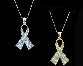 Crystal Light Blue Ribbon Bow Prostate Cancer Awareness Pendant Charm Necklace Silver Tone Gold Tone