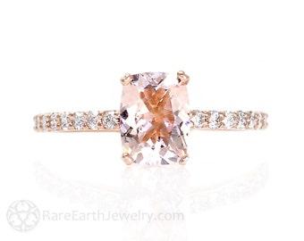 Cushion Morganite Engagement Ring Diamond Rose Gold Morganite Ring 14K or 18K Gold Wedding Ring Pink Gemstone Ring